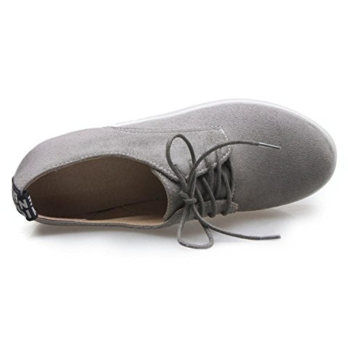 COOLCEPT Mujer Casual Punta Redonda Cordones Flatform Zapatos Gris