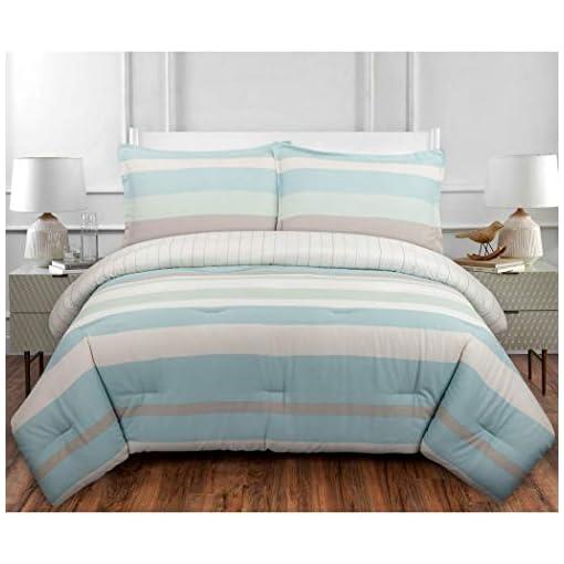 2 Piece Blue Green White Coastal Stripes Comforter Twin Twin Xl Set Coast Stripe Bedding Horizontal Bold Lines Theme Pattern Cotton Beachfront Decor