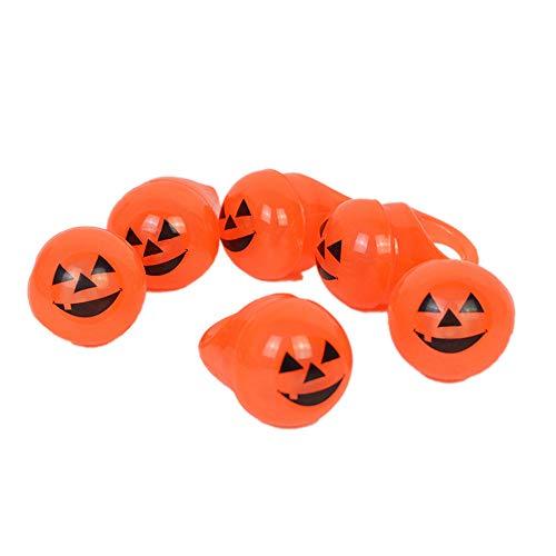 (ballsFHK Fashion Kids Halloween Glowing Pumpkin Shaped 1PC Finger Rings Toy)