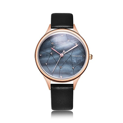 Women's Blue Watch Fashion Starry Sky Stars Dial Quartz Watches with Leather Strap (Blue)