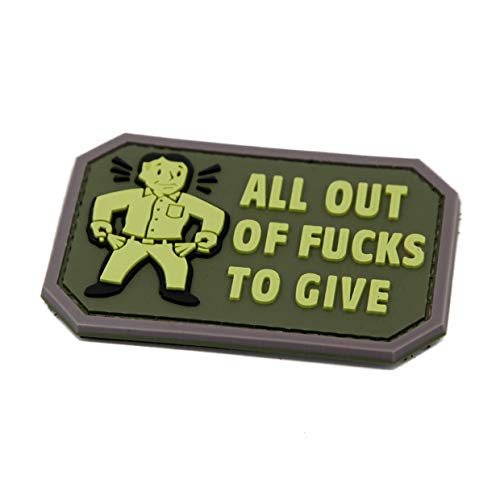 NEO Tactical Gear All Out of Fucks to Give PVC Rubber Morale Patch - Military and Airsoft Offensive Funny Morale Patch Hook Backed