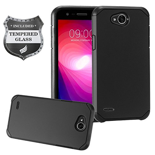 Eaglecell - For LG X Power2, X Power 2 M320, LG X Charge M322, LG LS7 SP320, LG Fiesta L63BL, LG Fiesta2 L163BL - Hybrid Rubberized Hard Case + Tempered Glass Screen Protector - Black