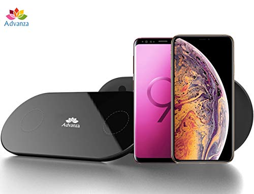 Advanza Dual Wireless Qi Charger Double Qi Fast Charging pad Fast Charging Station for iPhone X 8 Plus XR XS Max Samsung Galaxy Note 9 S9 Android 2 in 1 Charger for Qi Certified Devices - Black