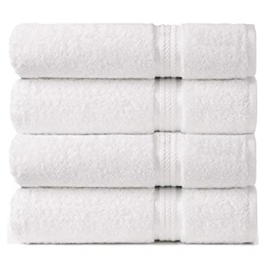 Cotton Craft - 4 Pack - Ultra Soft Oversized Extra Large Bath Towels 30x54 White - 100% Pure Ringspun Cotton - Luxurious Rayon Trim - Ideal for Daily Use - Each Towel Weighs 22 Ounces