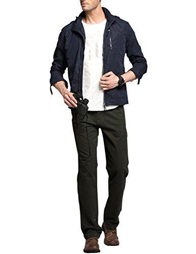 Yeokou Men's Lapel Hood Solid Color Zip-Up Loose Short Trench Coat Jacket Blue