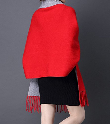 Sweater Sweater Donna Pullover rosso rosso rosso Da Poncho Cashmere Cardigan maniche oversize grigio Winter con Knitted Coat Sciarpa qZww8Xd