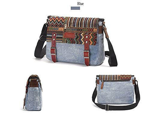 Canvas-Messenger-Bag-for-WomenUarzt-Vintage-Shoulder-Bag-School-College-Satchel-fits-Ipad-KindleSamsung-Blue