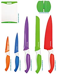 12-Piece Colored Sharp Knife Set: 5 Stainless Steel Kitchen Knives with Covers, Cutting Board and Sharpener