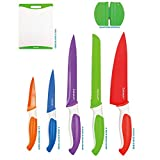12-Piece Colored Sharp Knife Set - 5 Stainless Steel Kitchen Knives with Covers, Cutting Board and Sharpener
