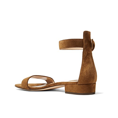 Straps Ankle Brown Women YDN Toe Classic Open Shoes Pumps Heel Sandals Block Low Office Hxg8Cnwzx