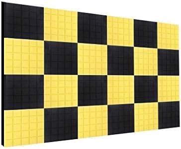 24ピース多目的記録室音響パネル、室内寝室多機能遮音ソフト吸音綿黒と黄色 (Color : 24 PCS)
