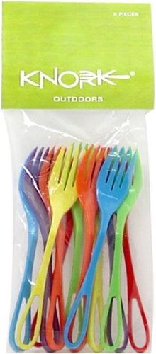 Knork 38 Lunch Set Plastic Fork Utensils, Red/Green/Blue