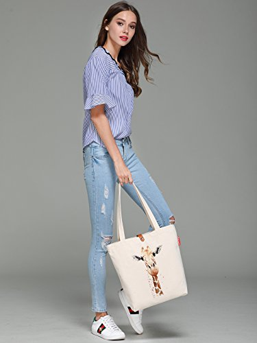 So'each Women's Animal Giraffe Art Graphic Top Handle Canvas Tote Shopping Bag