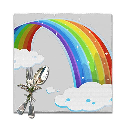 Because Rainbow with Clouds PNG Clipart Placemats,Heat-Resistant Washable Cotton Placemats,Polyester Linen Dining Table Mats for Kitchen,Set of 6]()