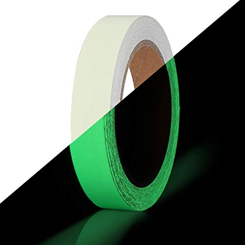 Glow in The Dark Tape 30 ft x 1 inch,Fluorescent Tape, Premium Quality Non-Toxic, 12 Hour Glow Waterproof Stickers for Stairs,Walls,Steps and Exit Sign]()