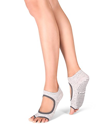 Yoga Socks for Women Non Slip, Toeless Non Skid Sticky Grip Sock – Pilates, Barre, Ballet (Static Grey)