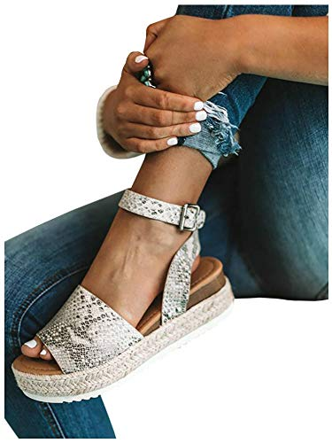 Women's Flatform Espadrilles Ankle Strap Buckle Open Toe Faux Leather Studded Wedge Summer Sandals (6.5 B(M) US, 1-Snake)