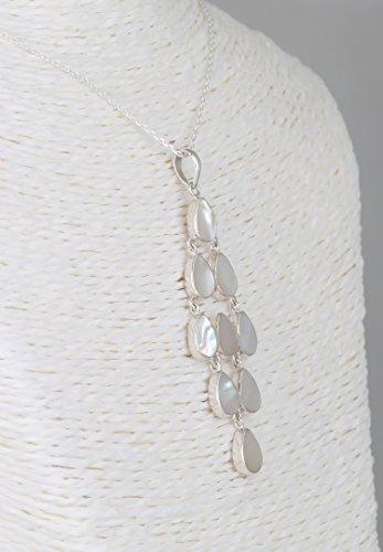 Aden's Jewels-Parure-Boucles d'oreille et Pendentif-nacre- Chandelier-Argent-Femme-blanc-Dimension BO 65 x 15mm-Dimension Pendentif 65 x 25mm-Chaîne incluse