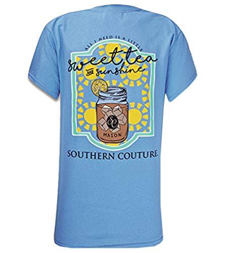 Southern Couture SC Classic Sweet Tea & Sunshine Womens Classic Fit T-Shirt - Carolina Blue, X-Large
