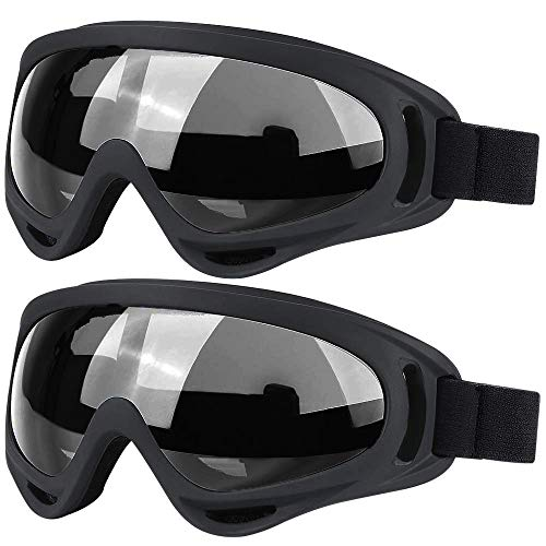 2 Packs Ski Goggles Skate Glasses Motorcycle Cycling Goggles Winter Snowboard Goggles Sunglasses for Kids Boys Girls Men Women UV 400 Protection Wind Resistance Anti-Glare Lenses (Gray2) (Cycling Goggles Winter)