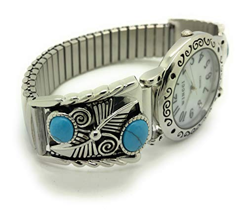 Mens Ladies Western Turquoise Stones Stretch Elastic Band Fashion Watch Wincci