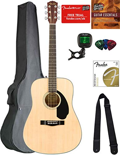 Fender CD-60S Solid Top Dreadnought Acoustic Guitar - Natural Bundle with Gig Bag, Tuner, Strap, Strings, Picks, Austin Bazaar Instructional DVD, and Polishing -