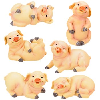 - 3-Inch Pig Collectible Farm Figurine, Set of 6