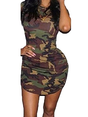 Bodycon Crewneck Women Dresses Asymmetric Coolred Draped Camo Pattern1 Club qIACxTRwWT