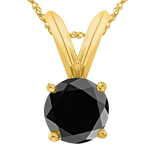 2 Carat 14K Yellow Gold Round Black Diamond 4 Prong Solitaire Pendant Necklace (AAA Quality) W/ 16