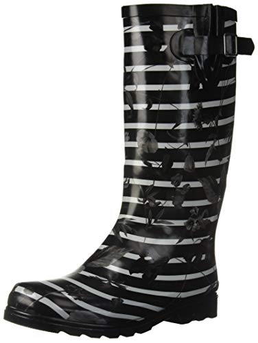 Nomad Women's Puddles Rain Boot, black stripes with poppies, 9 Medium US