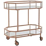 Safavieh BCT8004A Silva Bar Cart, Rose Gold/Mirror