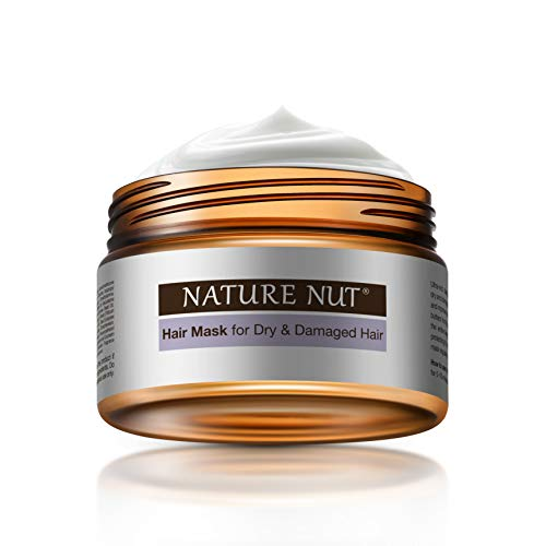 Nature Nut Hair Mask for Dry & Damaged Hair - Hypoallergenic Deep Conditioner ˡ Moisturizing Repair Treatment Masque with Five Nut Hydrating Formula (8.45 FL OZ)