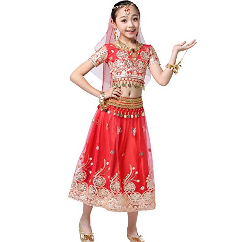 Bollywood Belly Dance Costume - Sari Noble Dance Outfit Halloween Costumes with Head Veil for Girls Red