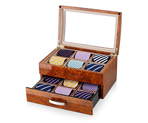 (Tie Box for 12 Men Ties with Drawer, Glass Top and Wooden Finish (Burl Wood + Peach))