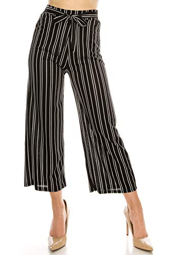 LA12ST Women High Waist Casual Self Tie Stripe Wide Leg Palazzo Pants Trousers ()