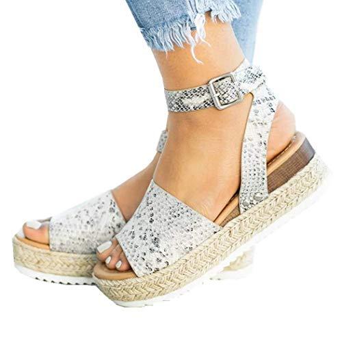 Women Wedge Sandals Casual Espadrilles Platform Sandals Studded Buckle Ankle Strap Open Toe Sandals (Snakeskin pattern,7.5 M US)