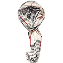 TitFus Classic Designer Inspired Plaid Pashmina Scarf Wrap shawl throw large (White)