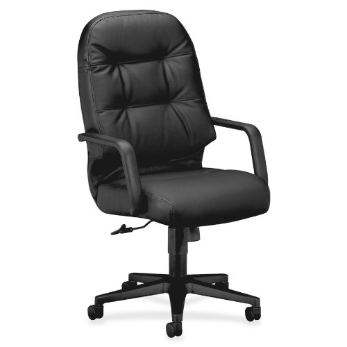 HON Leather Executive Chair - Pillow-Soft Series High-Back Office Chair, Black (H2091) by HON