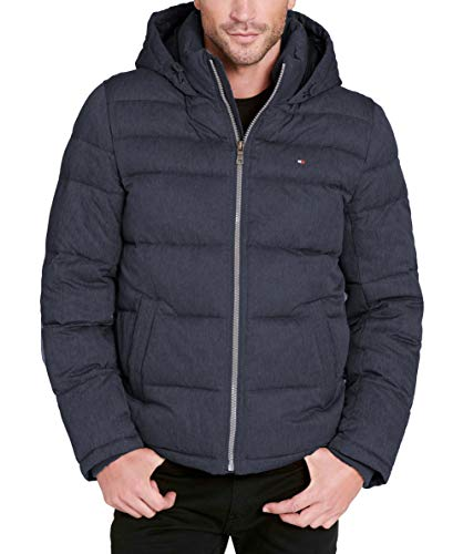 Tommy Hilfiger Men's Big and Tall Classic Hooded Puffer Jacket, Heather Navy, -