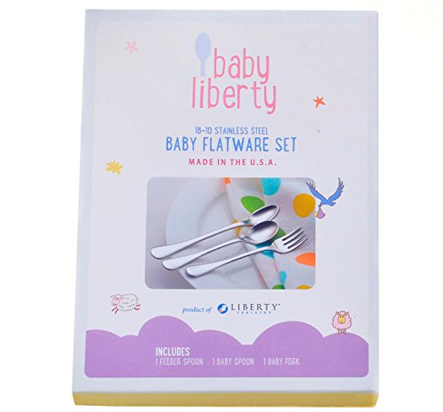 Baby Liberty 3 Piece Baby Flatware Set in Gift Box Made in USA