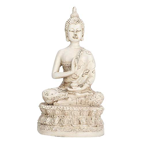 Marhynchus Sakyamuni Buddha Imitation Copper Buddha Meditating Statue Imitation Copper Thai Sakyamuni Ornament Decoration As Feng Shui Gift(White) ()