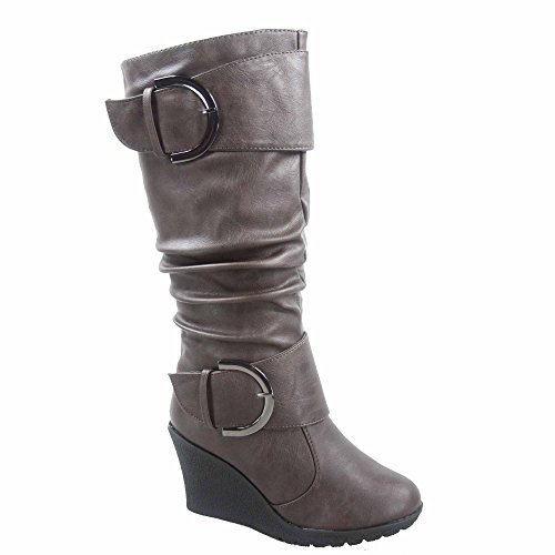 TOP Moda Pure-65 Women's Fashion Round Toe Slouch Buckle Wedge Mid Calf Boot Shoes (8, Brown)