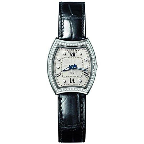 Bedat & Co Women's No.3 Diamond Black Leather Band Steel Case Quartz Silver-Tone Dial Watch 305.020.109