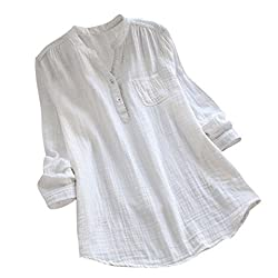 Cotton Blouse Toimoth Women Stand Collar Long Sleeve Casual Loose Tunic Tops T Shirt White L