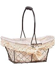 IMSHI European Vintage Iron Wire Mesh Basket - Vegetable Desktop Clutter Storage Basket, Outdoor Picnic Storage Basket with White Cotton Lining,Hand-held Bread Basket Shopping Baskets