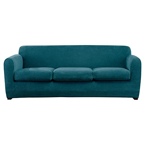 Sure Fit Ultimate Stretch Chenille - Three Cushion Sofa Slipcover - Teal (SF46333)