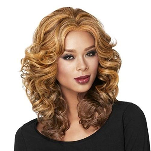 GGVK&W Women's Wig Medium Length Curly Wavy Premium Heat Resistant Synthetic Natural Hair Wig Halloween Cosplay