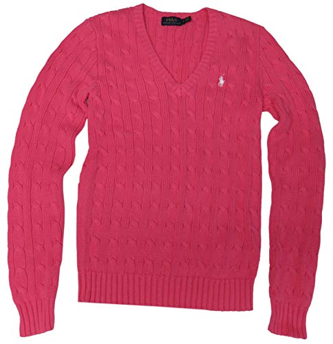 (RALPH LAUREN Cable Knit Sweater V-Neck Womens Size Large Pink)
