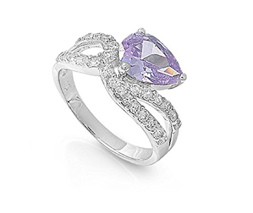 Light Purple Lavender Cubic Zirconia Infinity Tear Drop Fusion Ring 925 Sterling Silver Size (Purple Teardrop Ring)