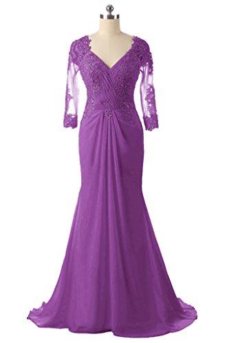 der HWAN lange Kleid Perlen Mermaid Mutter Spitze V Frauen Lila Braut Ausschnitt Abendkleider S4A8YrSq